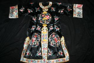 Antique 1800s Chinese Mandarin Silk Embroidered Coat Robe Figures Dragon Ribbon