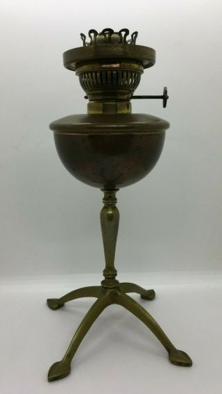 Arts Crafts Antique Hinks Son Copper Oil Lamp Scalloped Slanted Hood WAS Benson 3