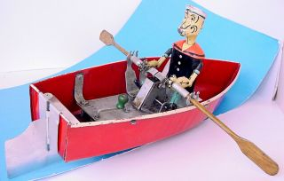 1935 Hoge Popeye The Sailor Row Boat 268 Rare Pressed Steel Wind Up
