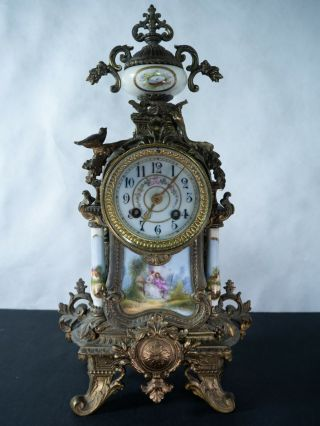 Sevres Clock With Hand Painted Porcelain Inserts,  Bronze And Beautifully Ornate