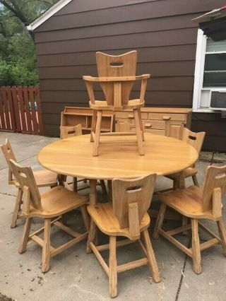 """ A.  Brandt Ranch Oak "" Furniture - Table & 8 Chairs - China Hutch/buffet"
