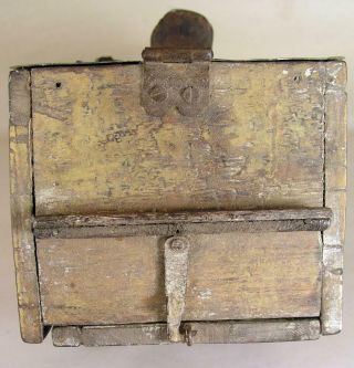Antique Tin - Wooden Bee Lining Or Hunting Box Apiary Beekeeping Yellow Painted 10