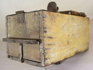 Antique Tin - Wooden Bee Lining Or Hunting Box Apiary Beekeeping Yellow Painted 11