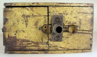 Antique Tin - Wooden Bee Lining Or Hunting Box Apiary Beekeeping Yellow Painted 12