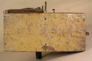 Antique Tin - Wooden Bee Lining Or Hunting Box Apiary Beekeeping Yellow Painted 5