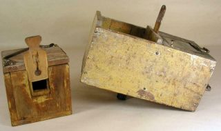 Antique Tin - Wooden Bee Lining Or Hunting Box Apiary Beekeeping Yellow Painted 6