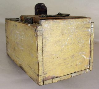 Antique Tin - Wooden Bee Lining Or Hunting Box Apiary Beekeeping Yellow Painted 8