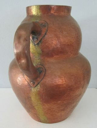 Vintage antique arts and crafts hammered copper vase jug handles mission style 4