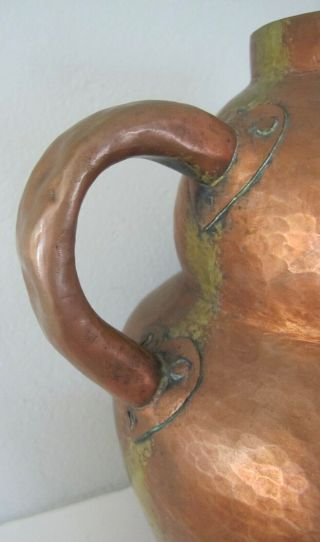 Vintage antique arts and crafts hammered copper vase jug handles mission style 8