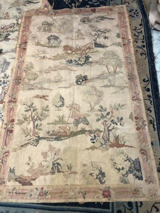 Auth: 19th C French Hand Loomed Fine Jaquard Tapestry 2 Of Pair 3x5 Ft No Reserv