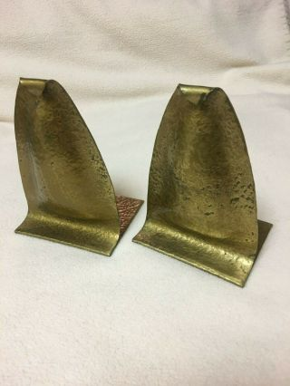 Arts & Crafts Hammered Brass Bookends Signed Etc Fish Tioga Pa