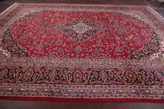 Vintage Traditional Floral Red Area Rug Hand - Knotted Oriental Wool Carpet 10x13