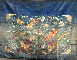 Antique Chinese Silk Hand Embroidered Panel Early 20th Century