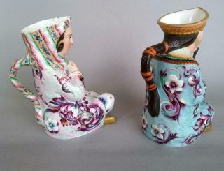 Antique Jean Gille French Porcelain Asian Man Woman Jug Figurine Creamer Chinese 2