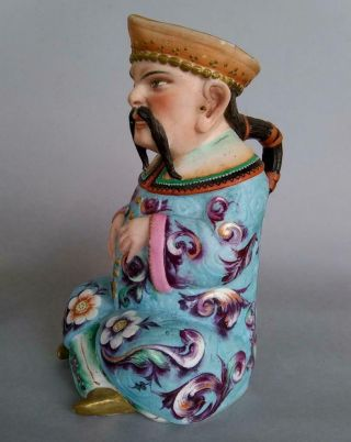 Antique Jean Gille French Porcelain Asian Man Woman Jug Figurine Creamer Chinese 4