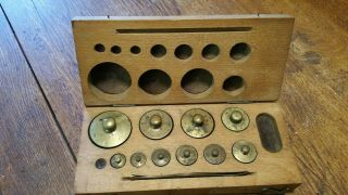 Vintage Brass Scale Weights In Wooden Box
