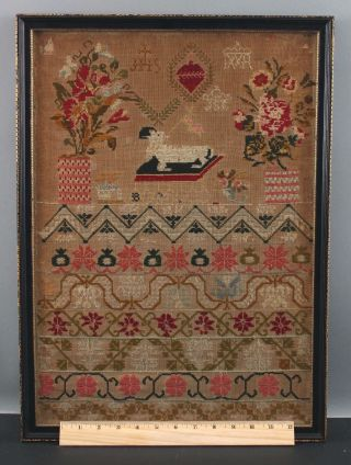 Antique 19thc,  American Folk Art,  Childs Sampler Embroidery Borders,  Nr