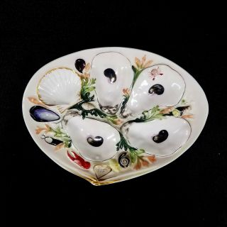 Antique Union Porcelain Clam Shell Oyster Plate Upw Patent 1881