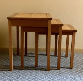 Danish Mid Century Modern Vintage 3 Nesting Tile Top Tables Made In Denmark Mcm