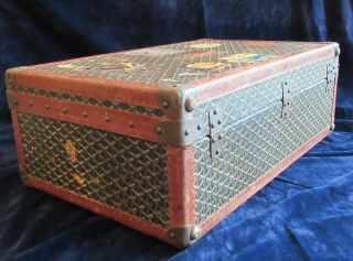 Goyard Suitcase Sized Trunk with Assorted Travel Labels 2