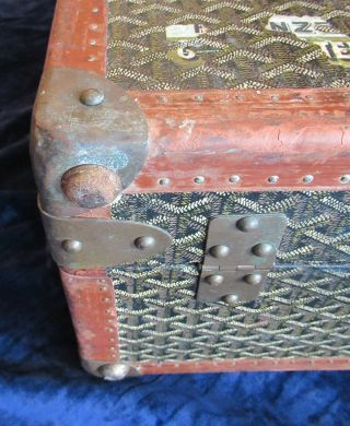 Goyard Suitcase Sized Trunk with Assorted Travel Labels 5