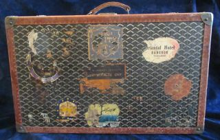 Goyard Suitcase Sized Trunk with Assorted Travel Labels 6