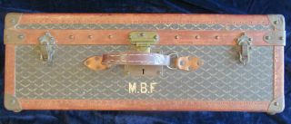 Goyard Suitcase Sized Trunk with Assorted Travel Labels 7