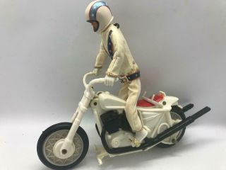Evel Knievel Figure And Motorcycle And Jumpsuit & Helmet & Belt