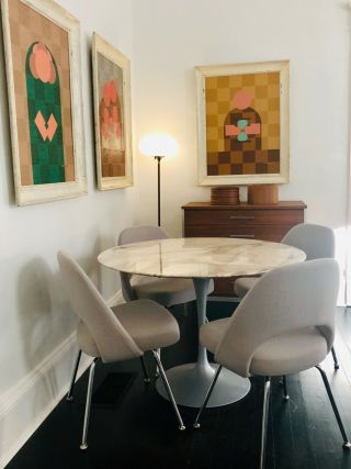 4 Knoll Saarinen Executive Side Chairs Grey Fabric Perfect Cond.  Chrome 3