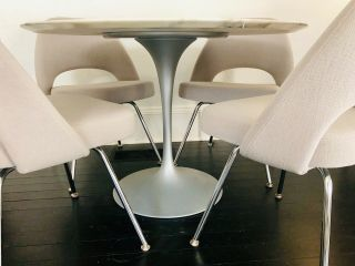 4 Knoll Saarinen Executive Side Chairs Grey Fabric Perfect Cond.  Chrome 4