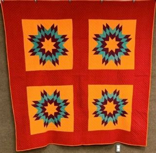 Glowing Cheddar C 1890 - 1900 Stars Antique Quilt Red 4 Block
