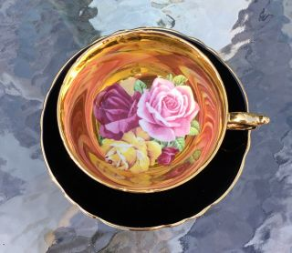Very Rare Paragon Black Tea Cup And Saucer Triple Cabbage Rose On Gold 1960