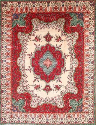 Vintage Oriental Area Rug Hand - Knotted Wool Floral Traditional Carpet 10 X 13