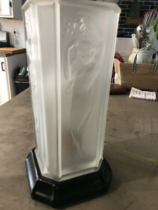 Antique Frosted Glass Naked Lady Lamp Art Deco 1930s Electric Stunning (21)