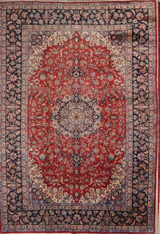 Traditional Area Rugs Hand - Knotted Wool Floral Vintage Carpet 10 X 14
