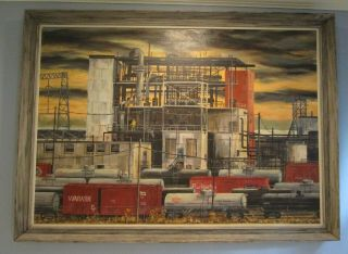 Large Mid Century Industrial Oil Painting Railroad Trains Factory