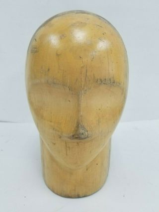 "Vtg Wood Wooden Millinery Hat Block Head Mold Form Size 21 "" 1/2 W Facial Feature"