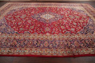 10x14 Vintage Floral Traditional Oriental Area Rug Red Hand - Knotted Wool Carpet