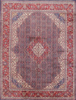 Geometric Classic Oriental Hand - Knotted 10 X 13 Wool Area Rug Carpet Blue