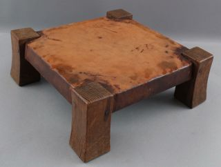Antique American Arts & Crafts Gustav Stickley Oak & Leather Foot Stool,  NR 4