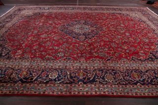 Large Traditional Floral Oriental Area Rug Hand - Knotted Red Wool Carpet 10x14