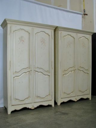 Pair Ethan Allen Country French Provincial Style Armoires;