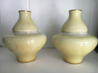 Pair Sevres Porcelain 1900 Double Gourd Taxile Doat Style Frothy Cream Vases