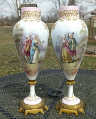 Pair Signed French Sevres Hand Painted Portrait Urns / Vases