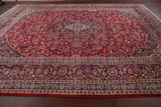 Vintage Traditional Floral Red Oriental Area Rug Hand - Knotted Wool Carpet 10x13