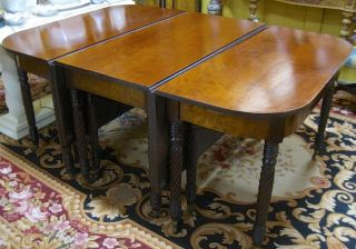 Antique 3 - Part Federal/Sheraton Mahogany Dining/Banquet Table c1820s—Magnificent 3