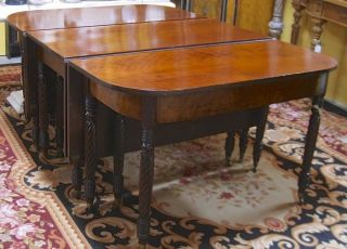 Antique 3 - Part Federal/Sheraton Mahogany Dining/Banquet Table c1820s—Magnificent 4