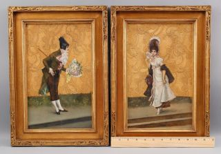 19thc Antique 18thc Lovers Portrait Oil Painting Gilt Accents Arts Crafts Frames