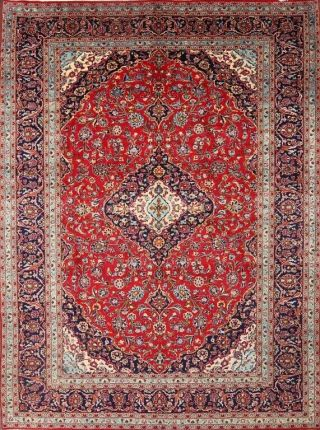 Vintage Traditional Floral Oriental Hand - Knotted 10 X 13 Red Wool Area Rug