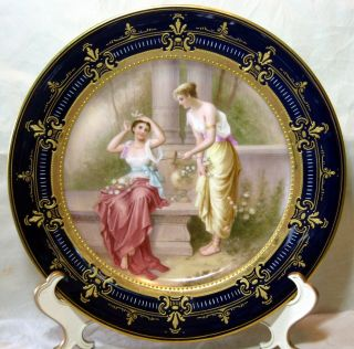 A Antique Royal Vienna Porcelain Hand Painted Portrait Plate